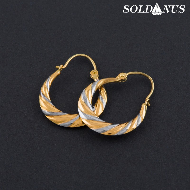 Zlaté náušnice kruhové vysiace dvojfarebné
