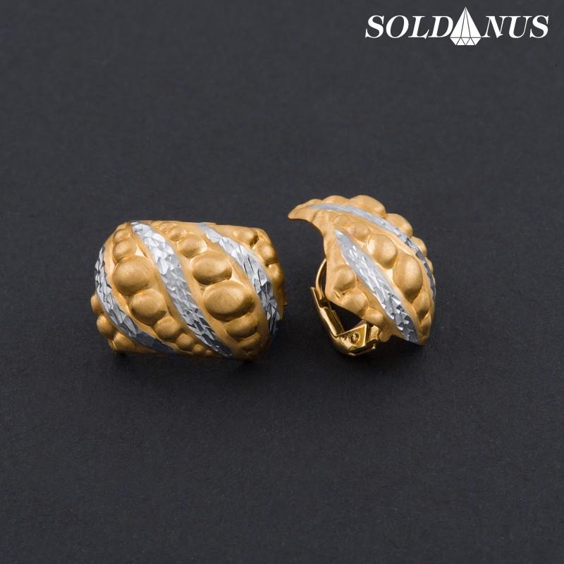 Zlaté náušnice kombinované s bielym zlatom