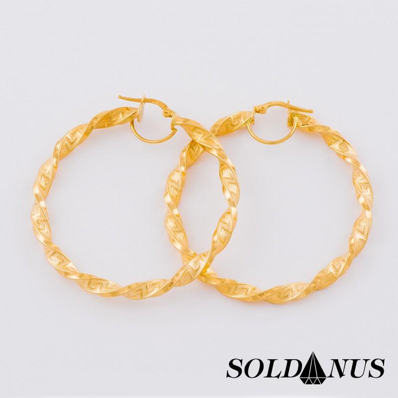 Zlaté náušnice kruhové s antickým vzorom 50mm