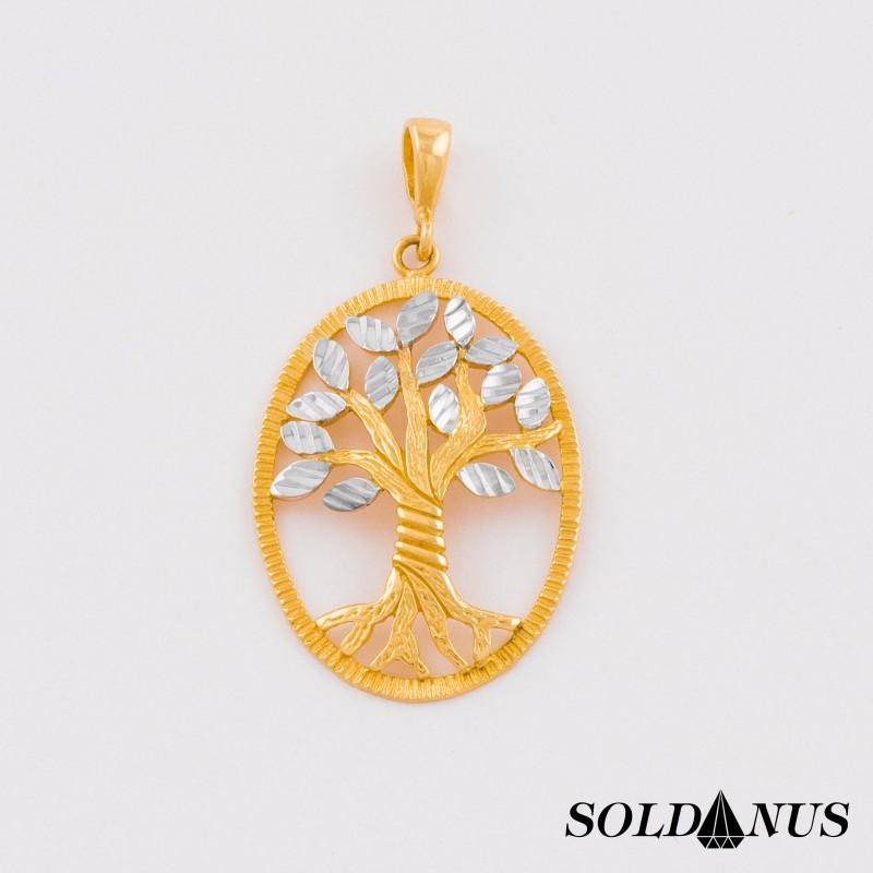 Zlatý prívesok dvojfarebný Strom života