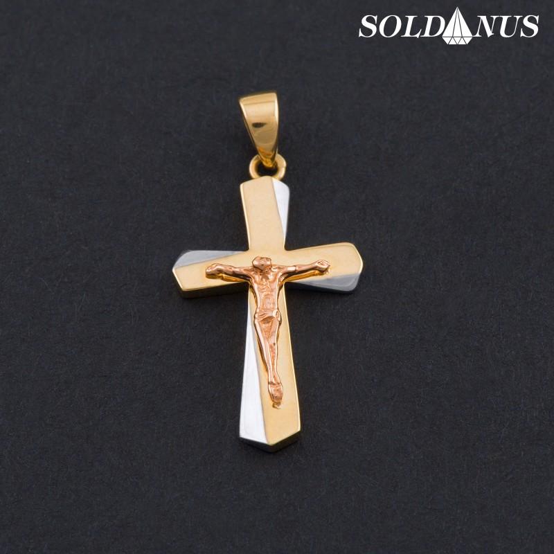 Zlatý prívesok krížik s bielym zlatom