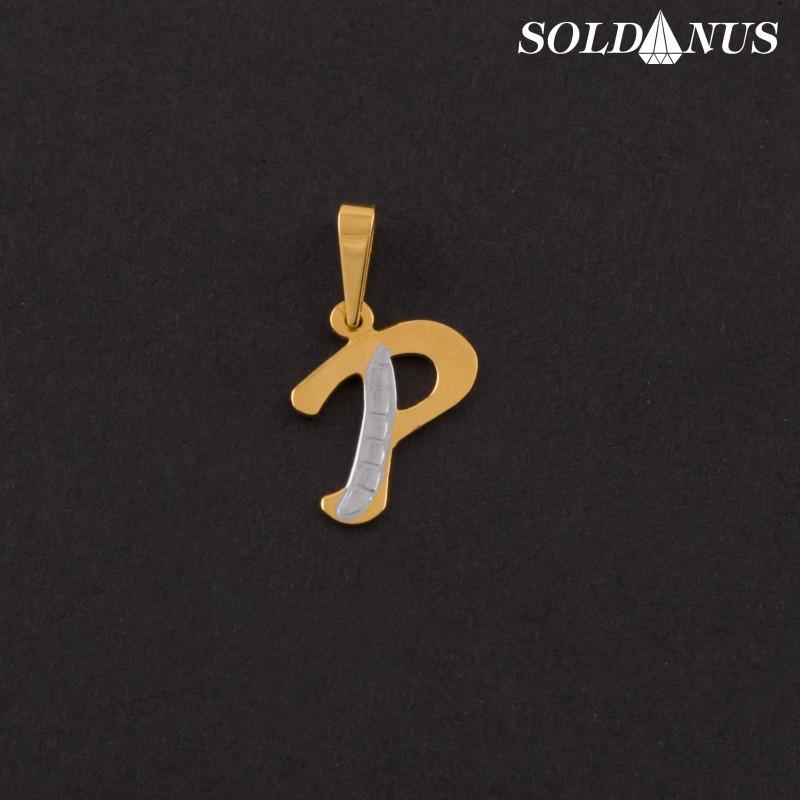 Zlatý prívesok písmeno P