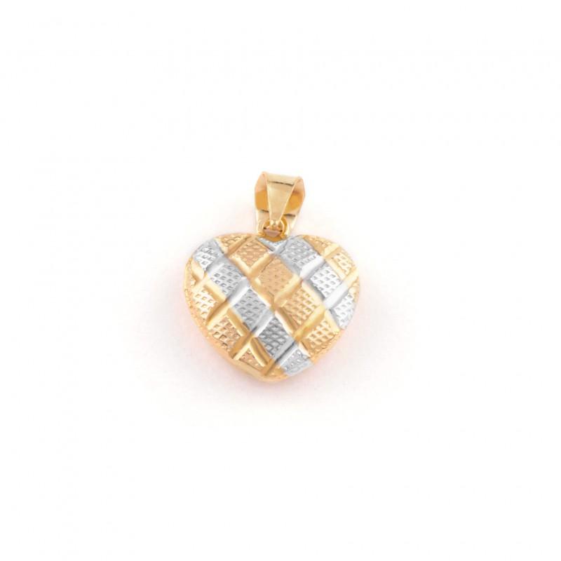 Zlatý prívesok srdce s bielym zlatom