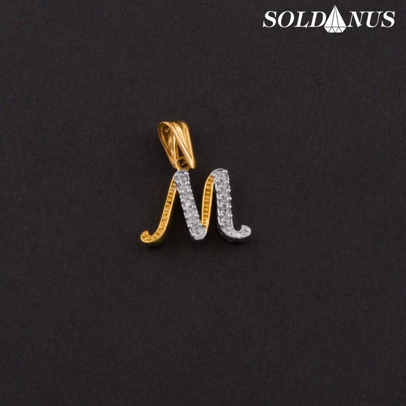 Zlatý prívesok písmeno M so zirkónmi