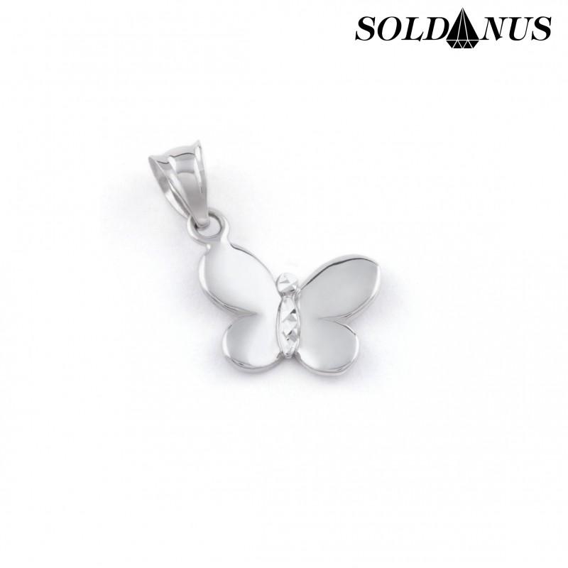 Zlatý prívesok motýľ z bieleho zlata