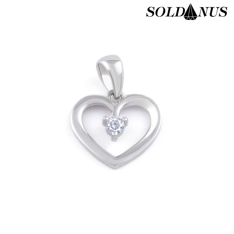 Zlatý prívesok srdce z bieleho zlata