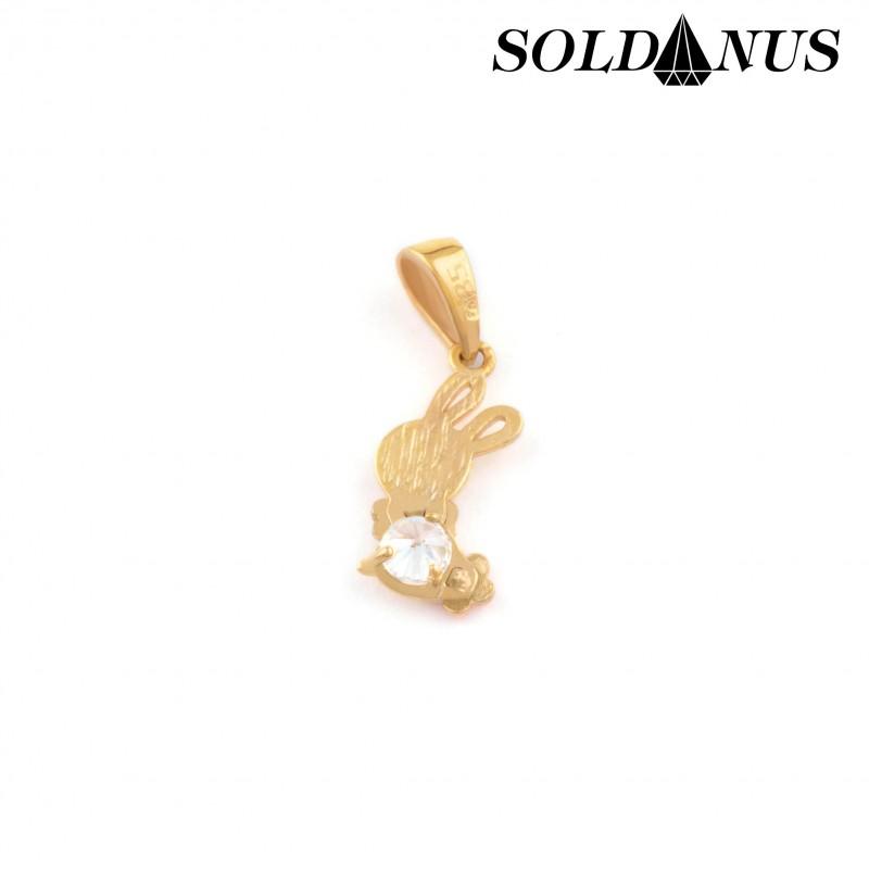 Zlatý prívesok zajačik so zirkónom