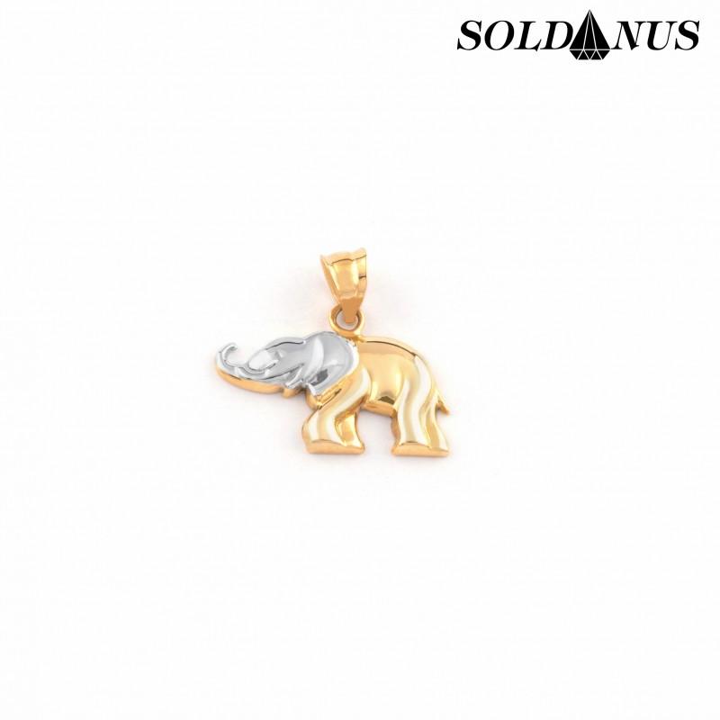 Zlatý prívesok sloník dvojfarebný