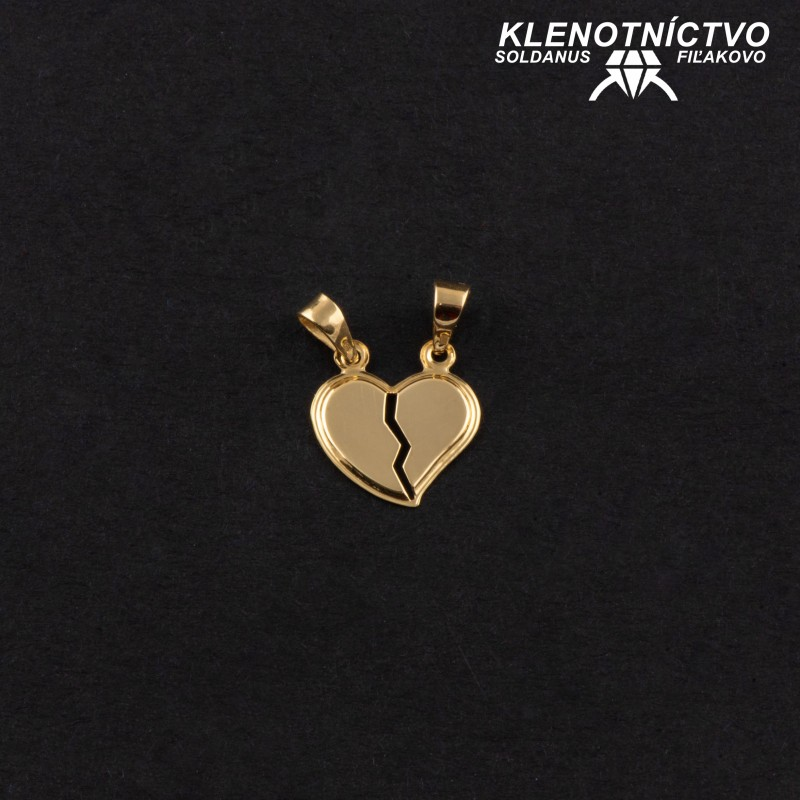 Zlatý prívesok srdce pre dvoch