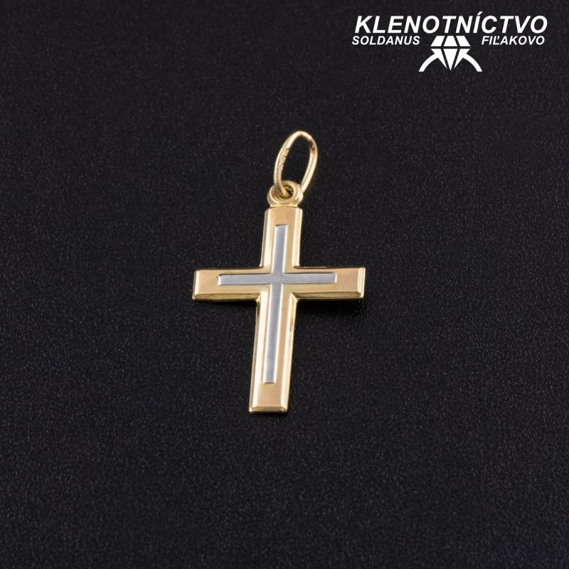 Zlatý prívesok krížik dvojfarebný