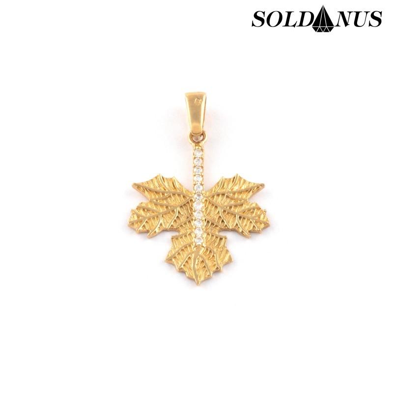 Zlatý prívesok listy vykladaný zirkónmi