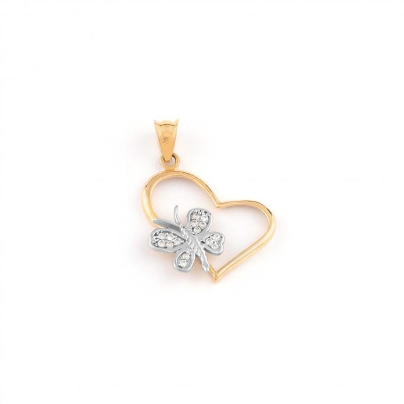 Zlatý prívesok srdce s motýľom