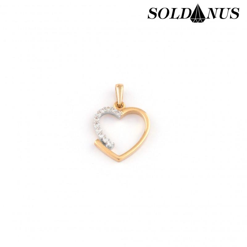 Zlatý prívesok srdce vykladaný zirkónmi