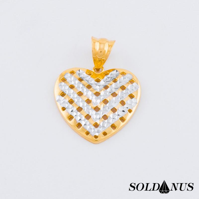 Zlatý prívesok dvojfarebný srdce