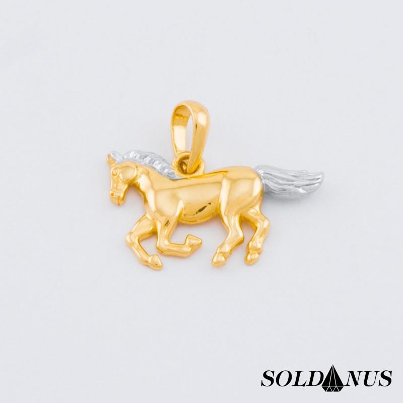 Zlatý prívesok dvojfarebný koník