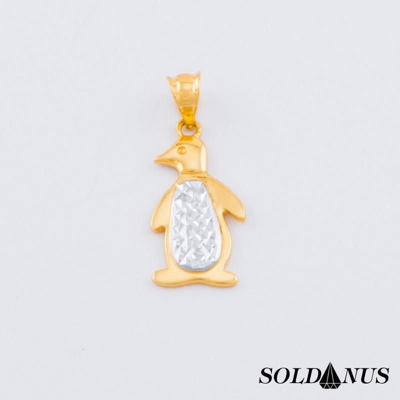 Zlatý prívesok dvojfarebný tučniak