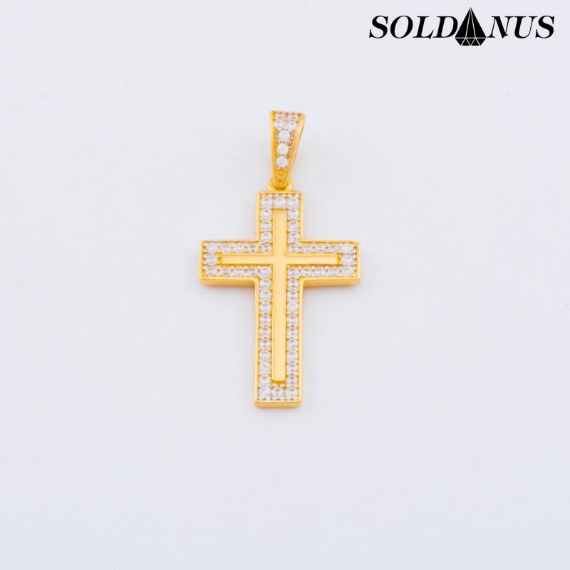 Zlatý prívesok krížik vykladaný zirkónmi