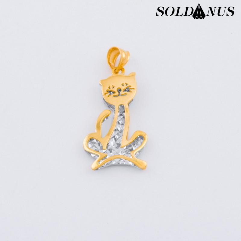 Zlatý prívesok dvojfarebný mačka
