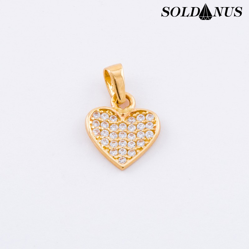 Zlatý prívesok srdce vykladané zirkónmi