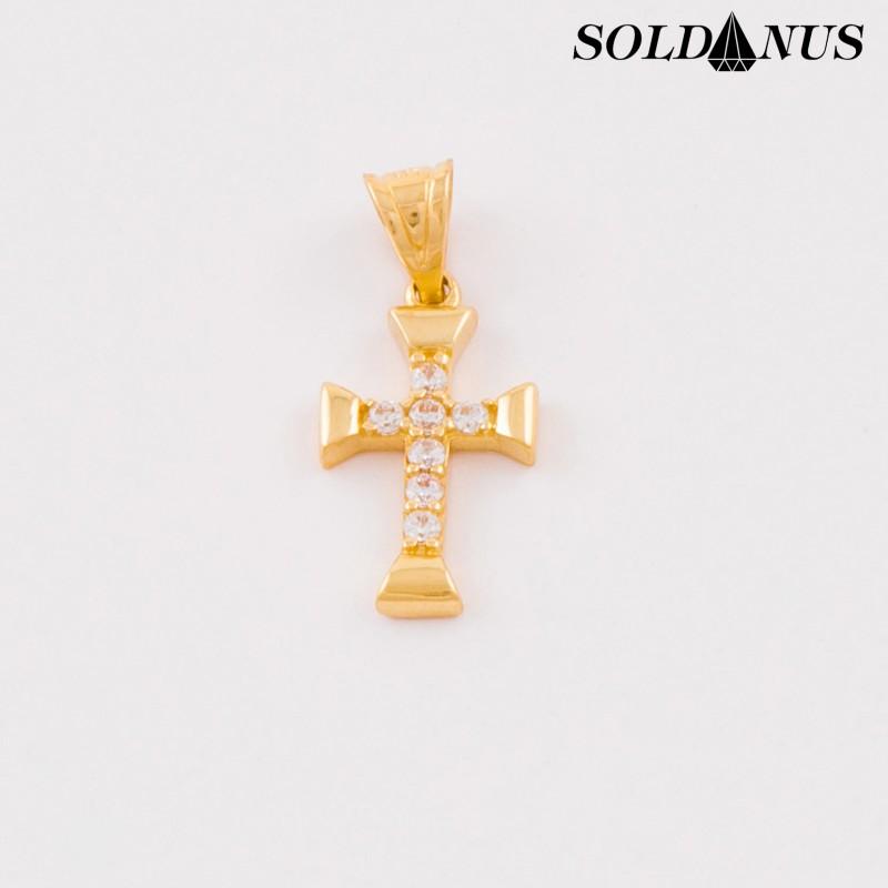 Zlatý prívesok krížik so zirkónmi