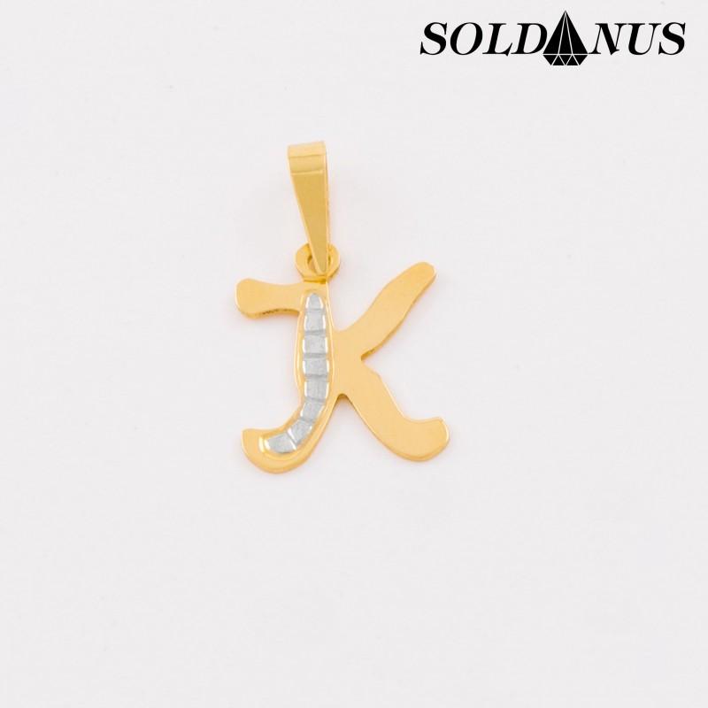 Zlatý prívesok dvojfarebný písmeno K
