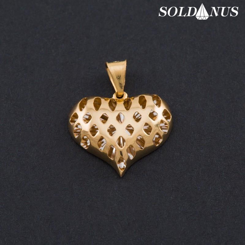 Zlatý prívesok srdce 3D