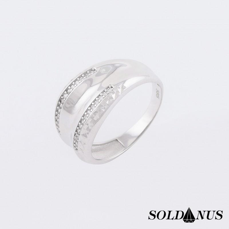 Prsteň z bieleho zlata vykladaný zirkónmi 58mm