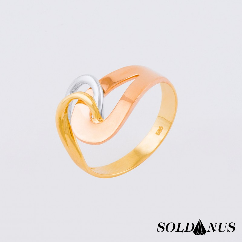 Zlatý dámsky prsteň trojfarebný 59mm