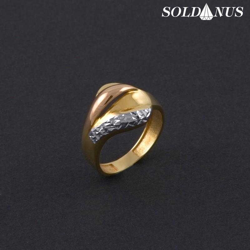 Zlatý prsteň trojfarebný 53mm
