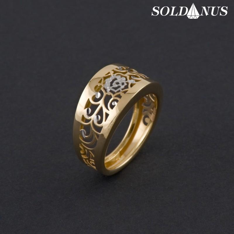 Zlatý prsteň dvojfarebný 50mm