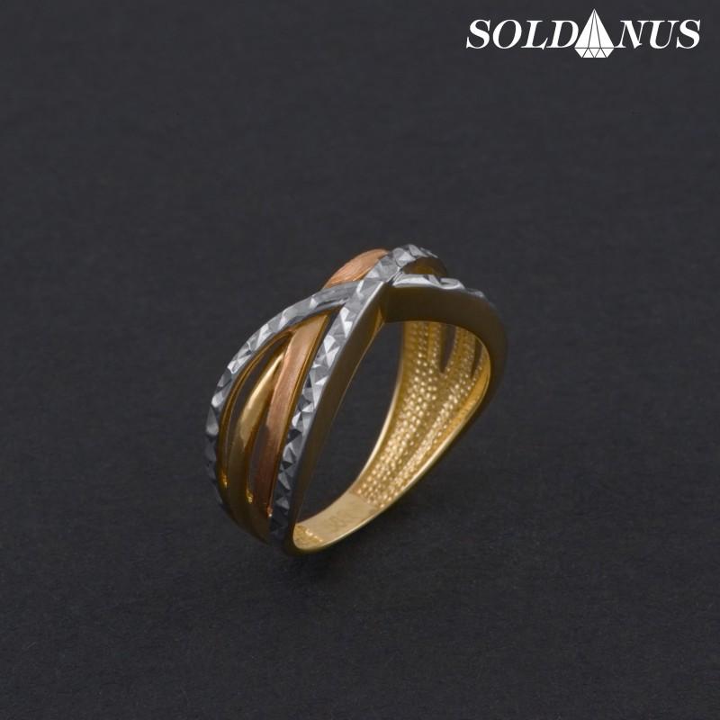 Zlatý prsteň trojfarebný 52mm