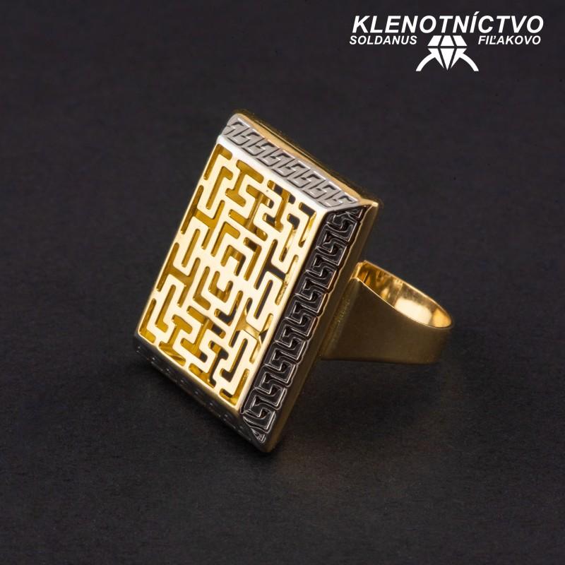 Zlatý prsteň dvojfarebný antický vzor 66mm