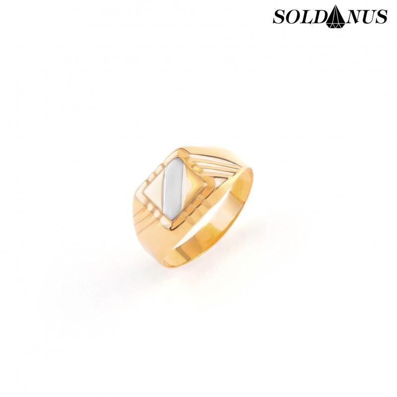 Zlatý pánsky prsteň dvojfarebný