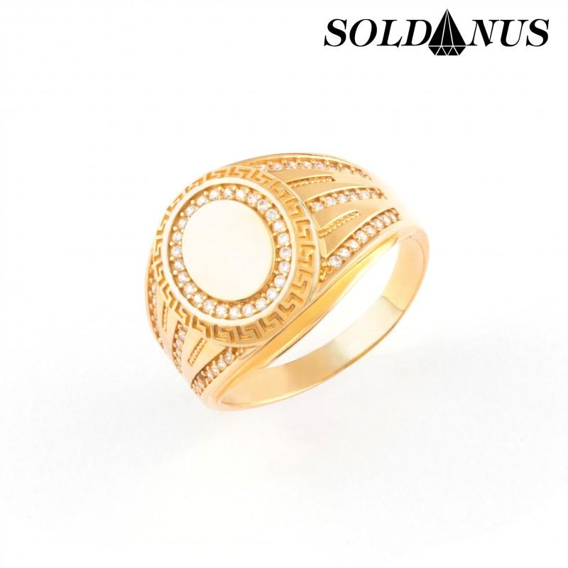 Zlatý pánsky prsteň vykladaný zirkónmi