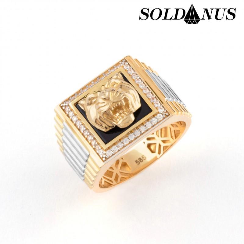 Zlatý pánsky prsteň s ónixok tigria hlava vykladaný zirkónmi