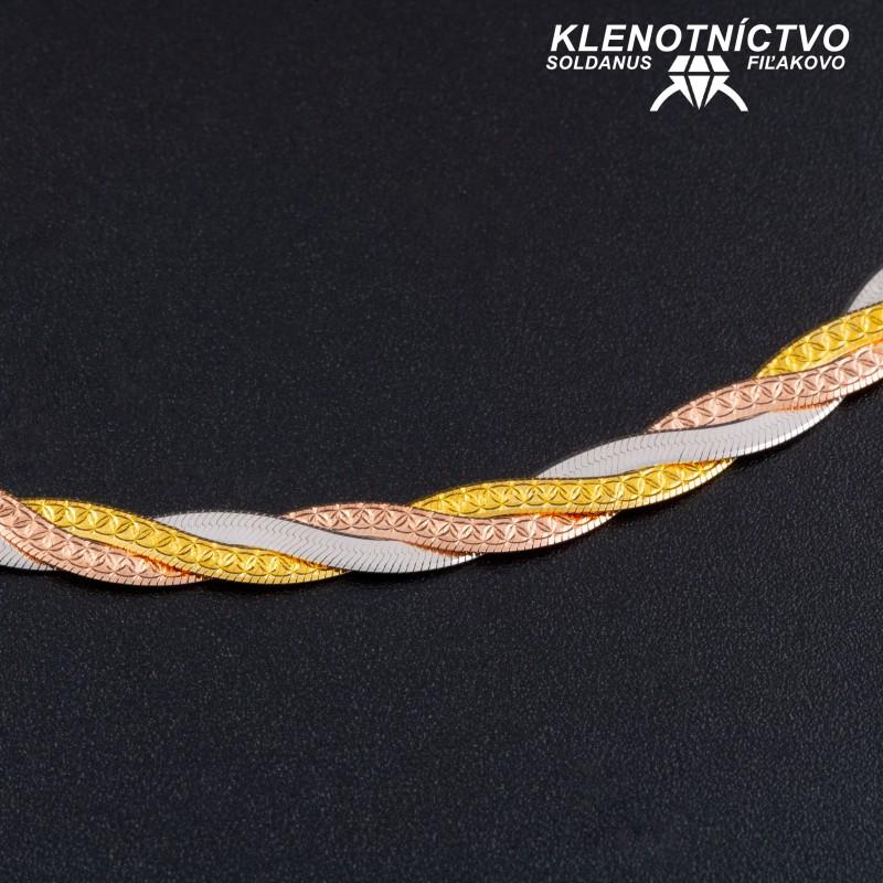 Strieborná retiazka trojfarebná prepletaná  45cm dámska
