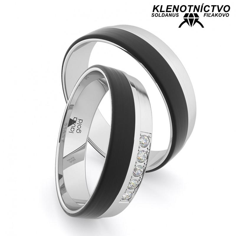 Svadobné obrúčky zlaté s karbónom (gold ring) 2900