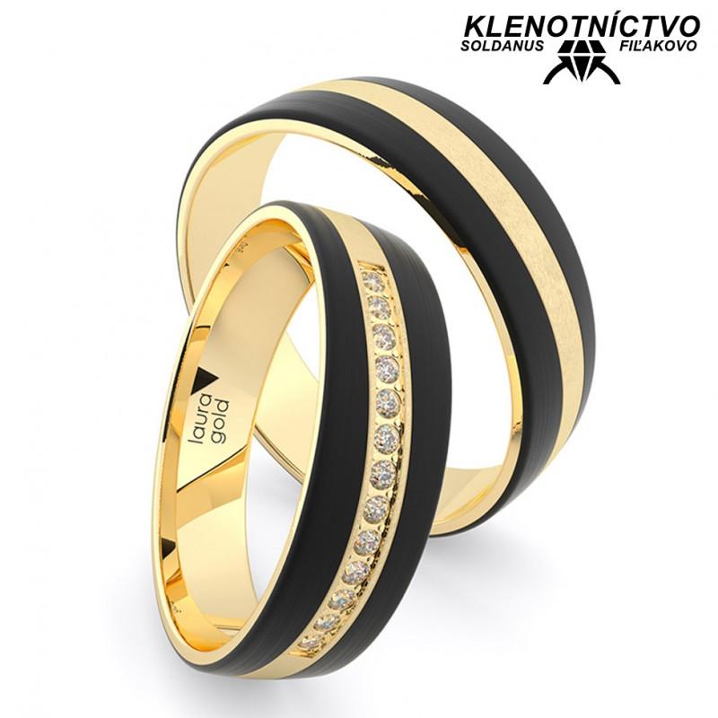 Svadobné obrúčky zlaté s karbónom (gold ring) 2904