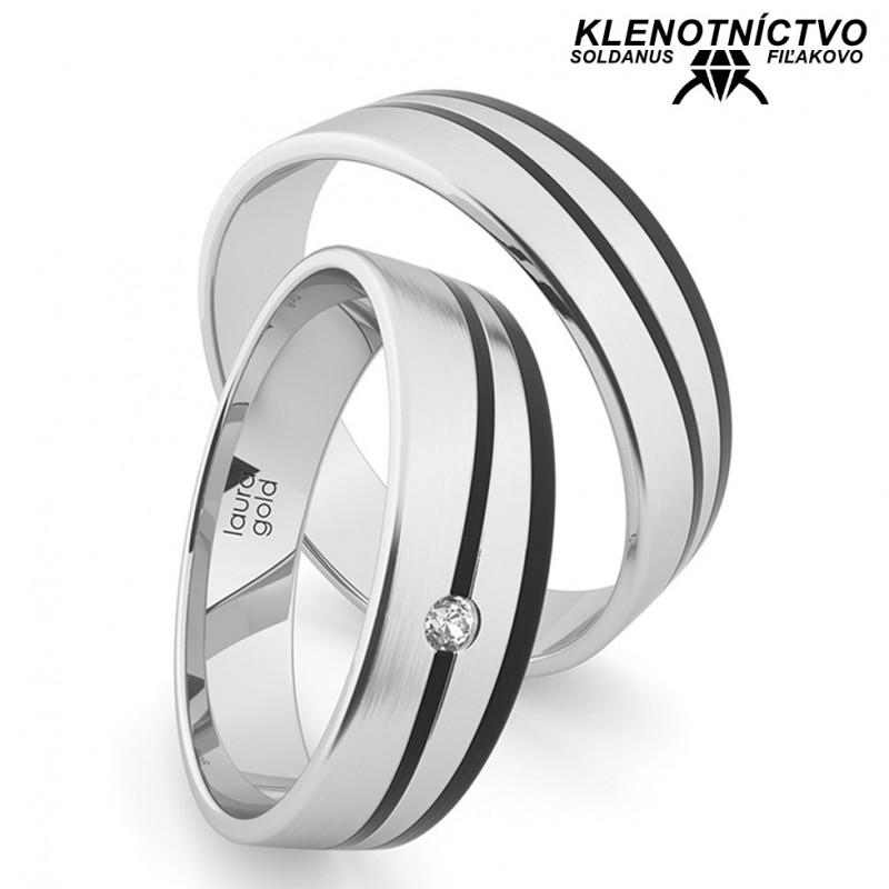 Svadobné obrúčky zlaté s karbónom (gold ring) 2905