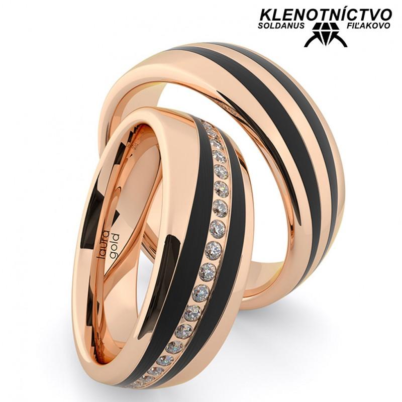 Svadobné obrúčky zlaté s karbónom (gold ring) 2906