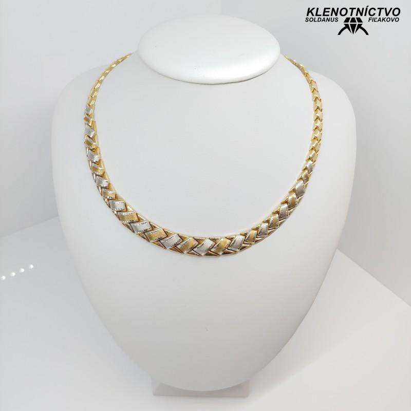 Zlatý náhrdelník dvojfarebný 45cm