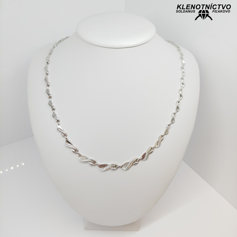 Zlatý náhrdelník biele zlato 55cm