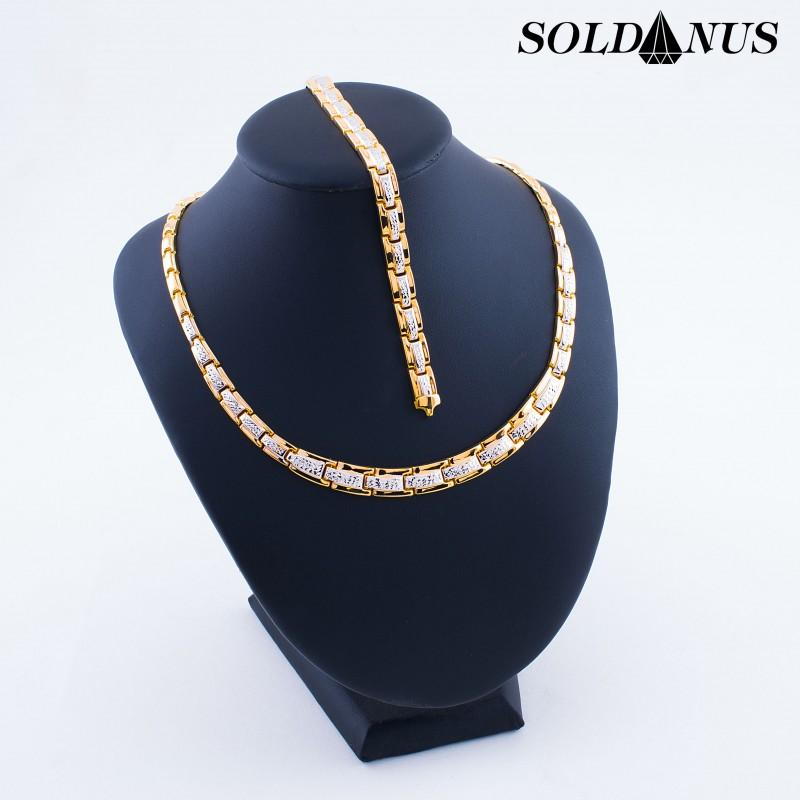 Zlatý SET náhrdeník 45cm + náramok 19cm