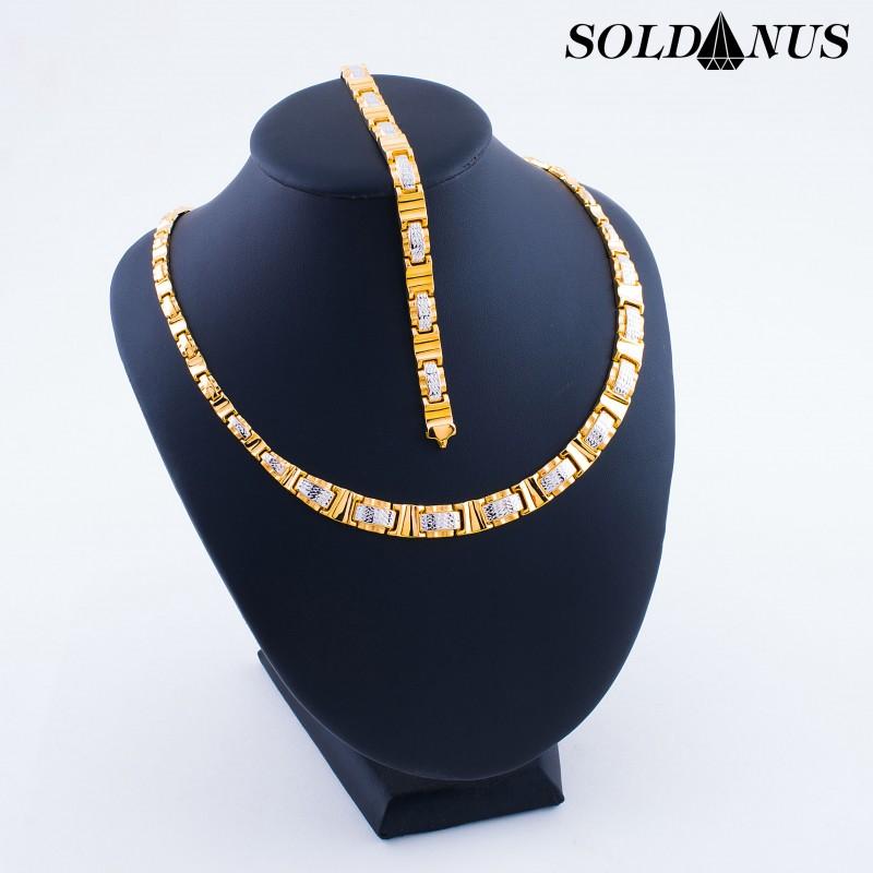 Zlatý SET náhrdeník 45cm + náramok 20cm