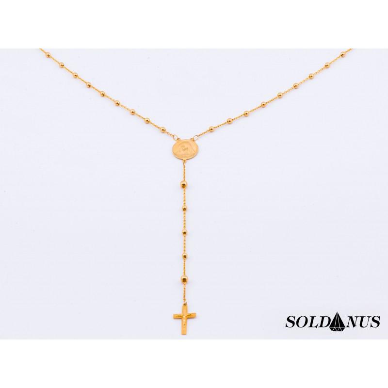 Zlatý náhrdelník ruženec 60cm