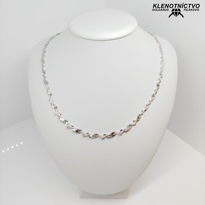 Zlatý náhrdelník biele zlato 50cm