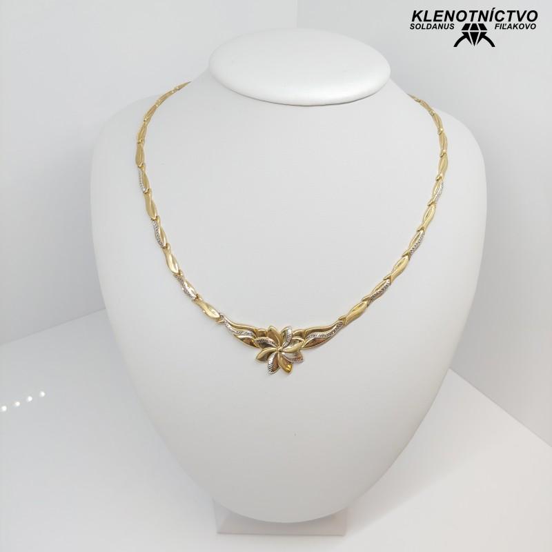 Zlatý náhrdelník dvojfarebný kvietok 45cm