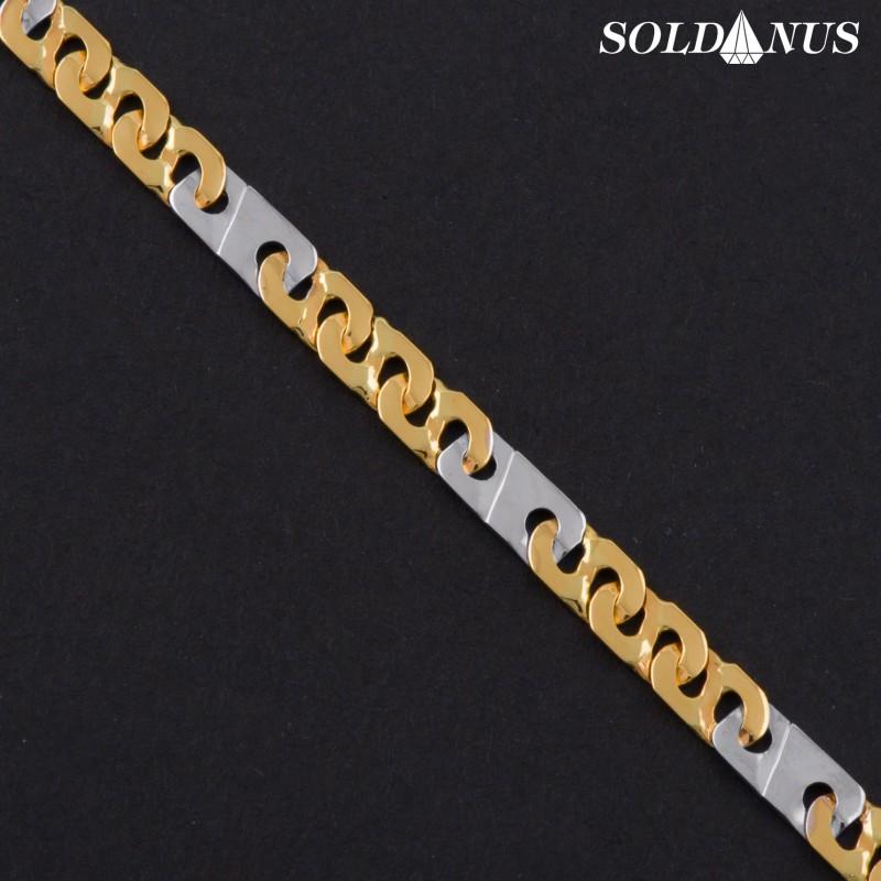Zlatý náramok 200mm s bielym zlatom
