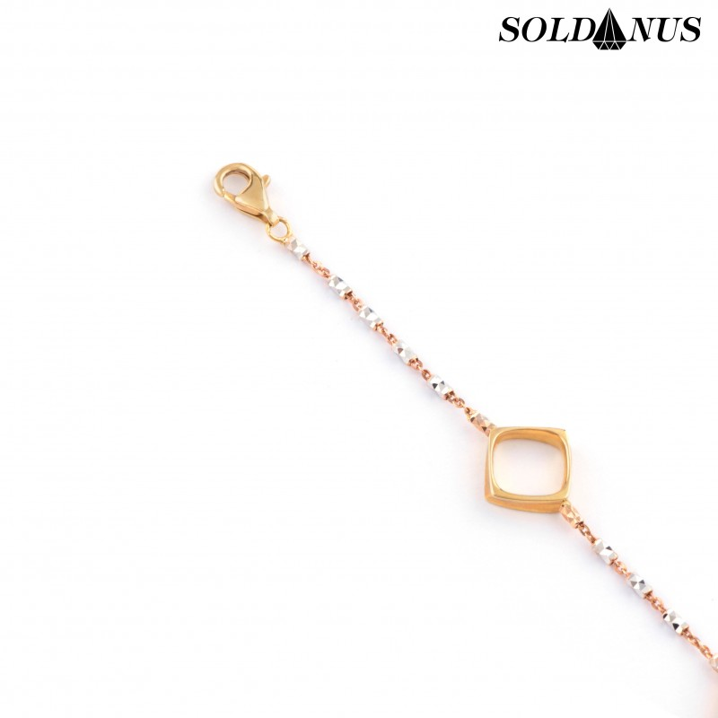 Zlatý náramok dámsky trojfarebný 21cm