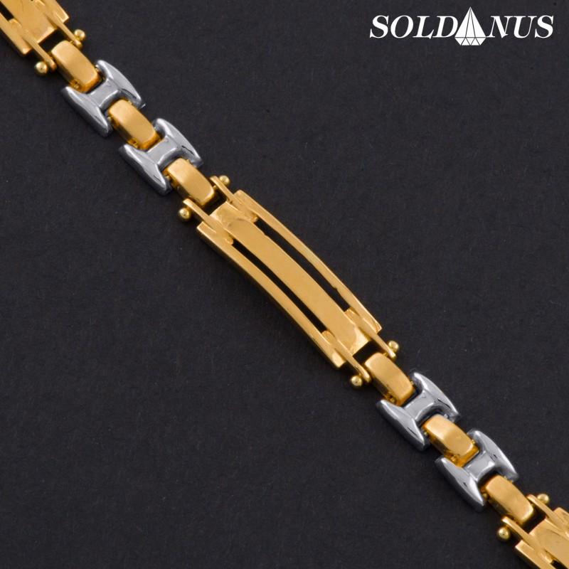 Zlatý náramok 220mm pánsky s bielym zlatom